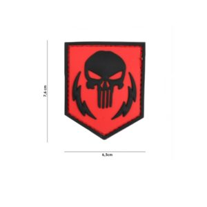 PATCH 3D PVC PUNISHER THUNDER STROKES ROUGE