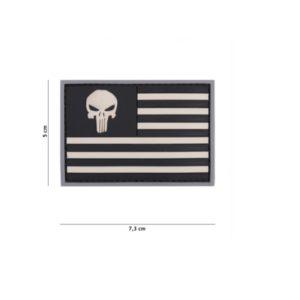 PATCH 3D PVC PUNISHER USA FLAG GRIS/NOIR