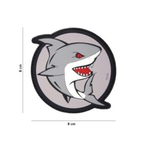 PATCH 3D PVC ATTACKING SHARK GRIS/ROUGE
