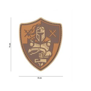 PATCH 3D PVC KNIGHT SHIELD MARRON