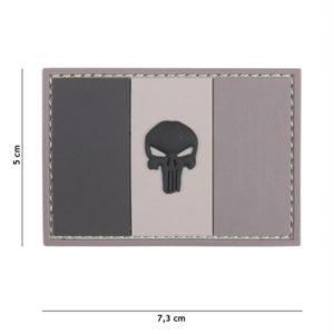 PATCH 3D PVC PUNISHER FRANCE FLAG GRIS/NOIR