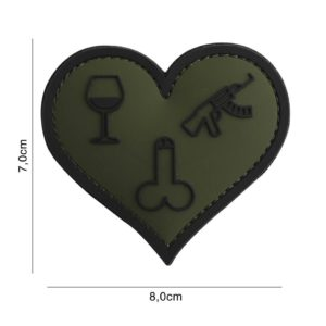 PATCH 3D PVC : LOVE, WINE, DICKS AND GUNS, VERT