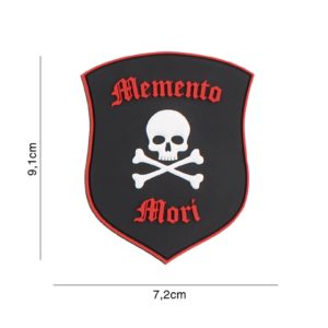 PATCH 3D PVC : MEMENTO MORI SHIELD SKULL, NOIR/ROUGE