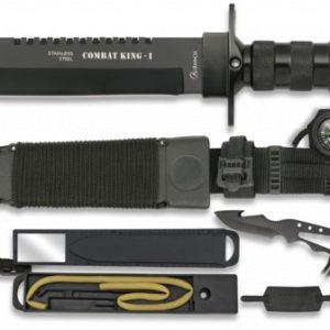 Couteau de survie COMBAT KING I. Noir. 20.5 cm